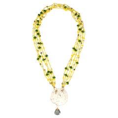 Agate Jade Carved Antiques Jade Necklace 18 K Gold
