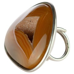 Agate Raw Druzy Natural Color Brown 925 Sterling Silver Handmade Cocktail Ring