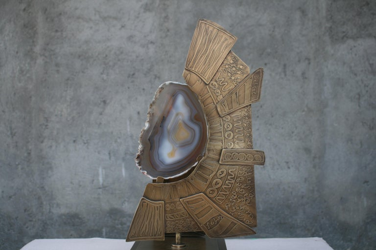 Belgian Agate Stone Slice with Brass on Decorative Stand For Sale
