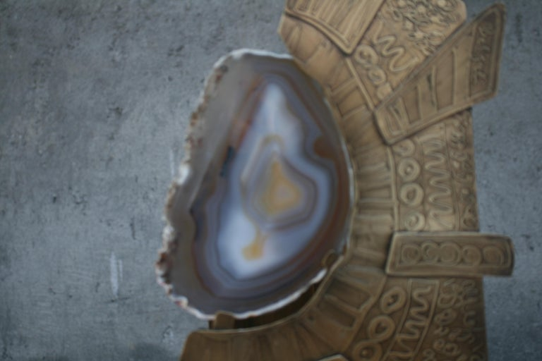 Etched Agate Stone Slice with Brass on Decorative Stand For Sale