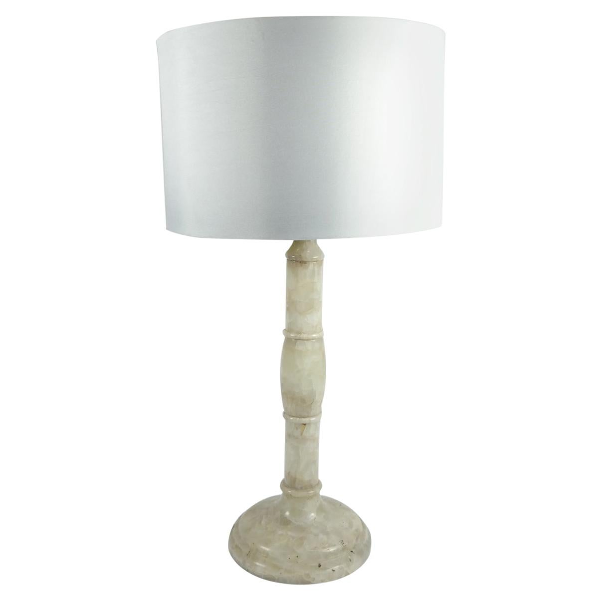 Agate Stone Table Lamp with Satin Lampshade, 1970s