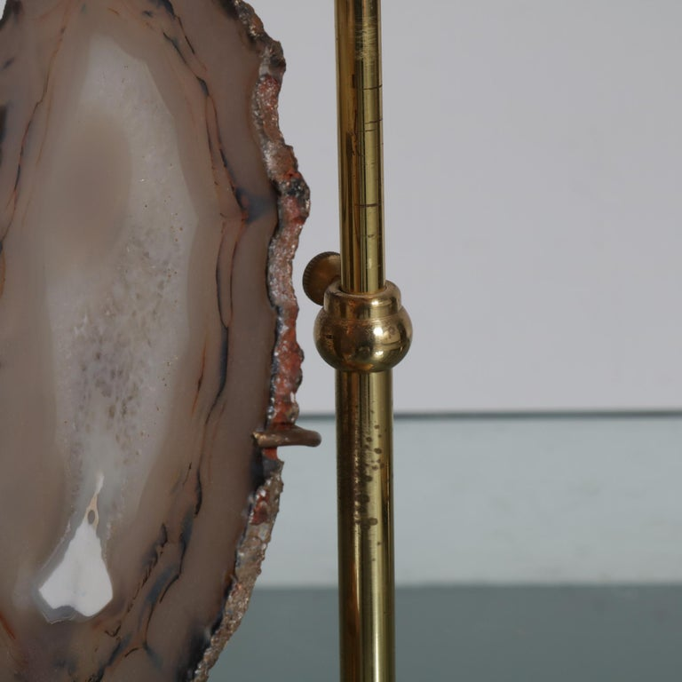 Brass Agate Table Lamp in the Manner of Willy Daro, circa 1970 For Sale