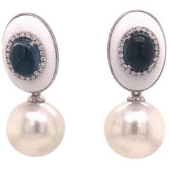 Agate Topaz Diamond South Sea Pearl Drop Earrings 3.71 Carat 18 Karat White Gold