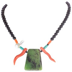 Agate Turquoise Coral Chrysoprase Pendant Handmade Chic Boho Beaded Necklace