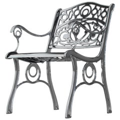 Agatha, Outdoor Aluminum Armchair with Chrome Finish, Made in Italy