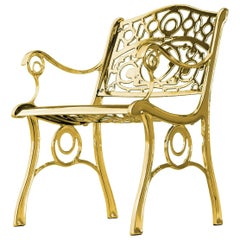 Agatha, Outdoor Aluminum Armchair with Gold Finish, Made in Italy