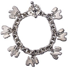 Agatha Paris Silver Tone Chain Scottie Dog Charm Bracelet