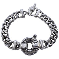 Agatha Paris Silver Tone Curb Link Chain Bracelet with Medallion