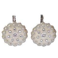Agatha Round Lever-back Silver Tone and Cream Enamel Rhinestones Drop Earrings