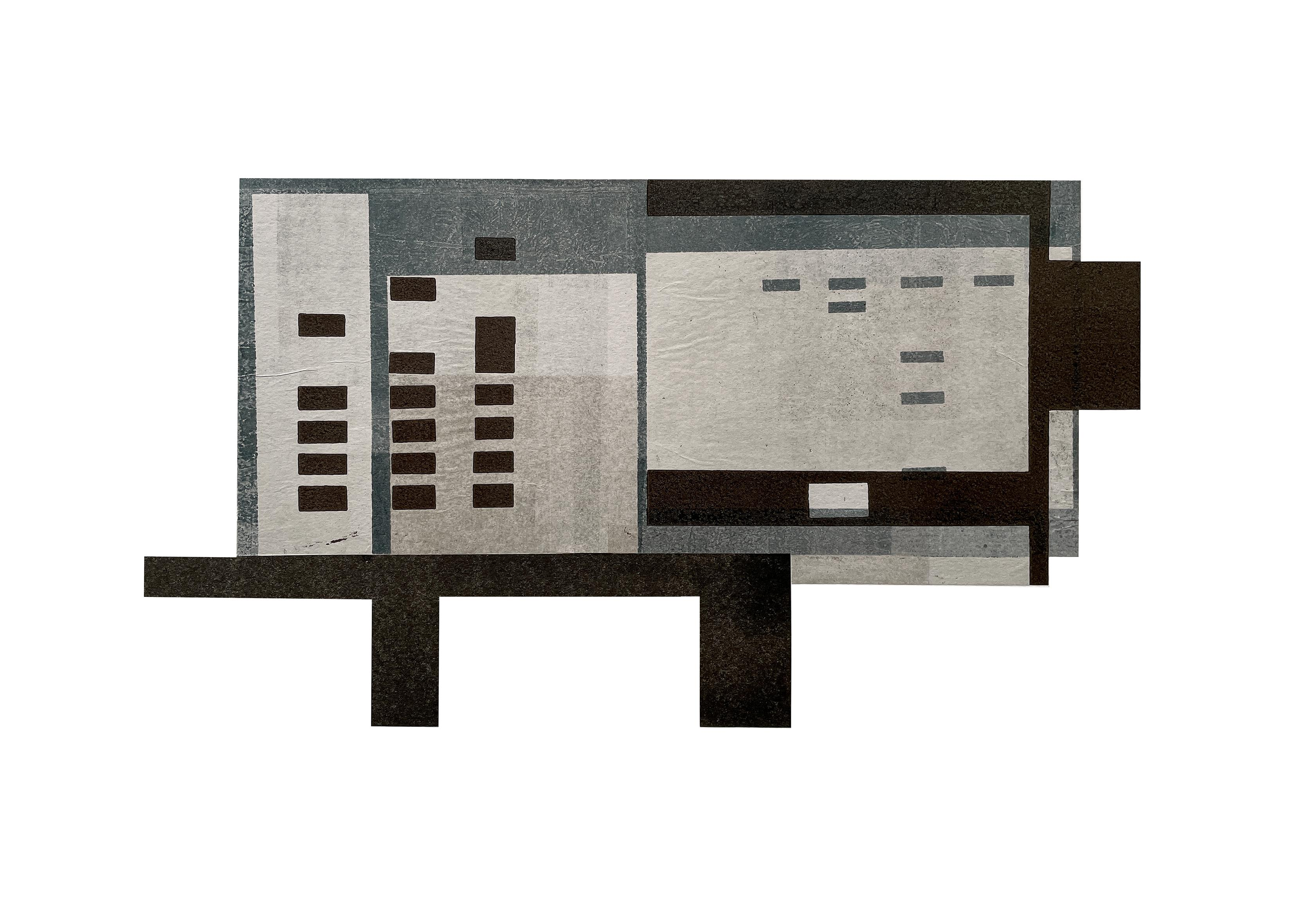 Cabin I: modernist, urban architectural monoprint & collage in gray, blue, black