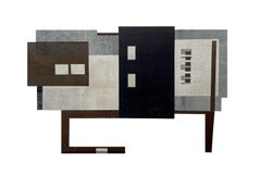 Future III: modernist urban architectural monoprint & collage in gray blue black