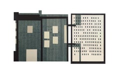 In-Between: modernist, urban architectural monoprint & collage in gray & blue