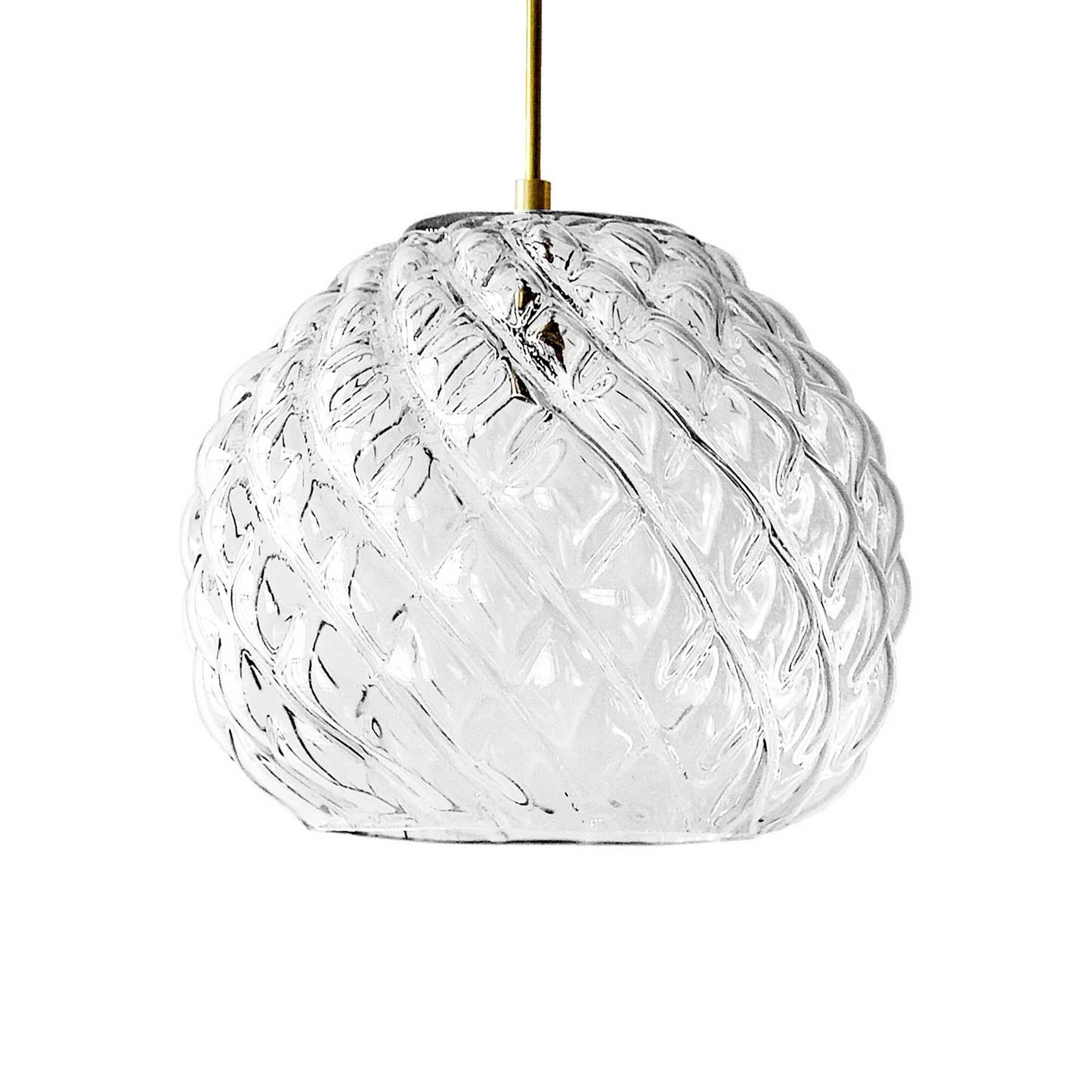 Hand Blown Glass Pendant, Clear Glass, Cuishe, Agave Lighting Collection