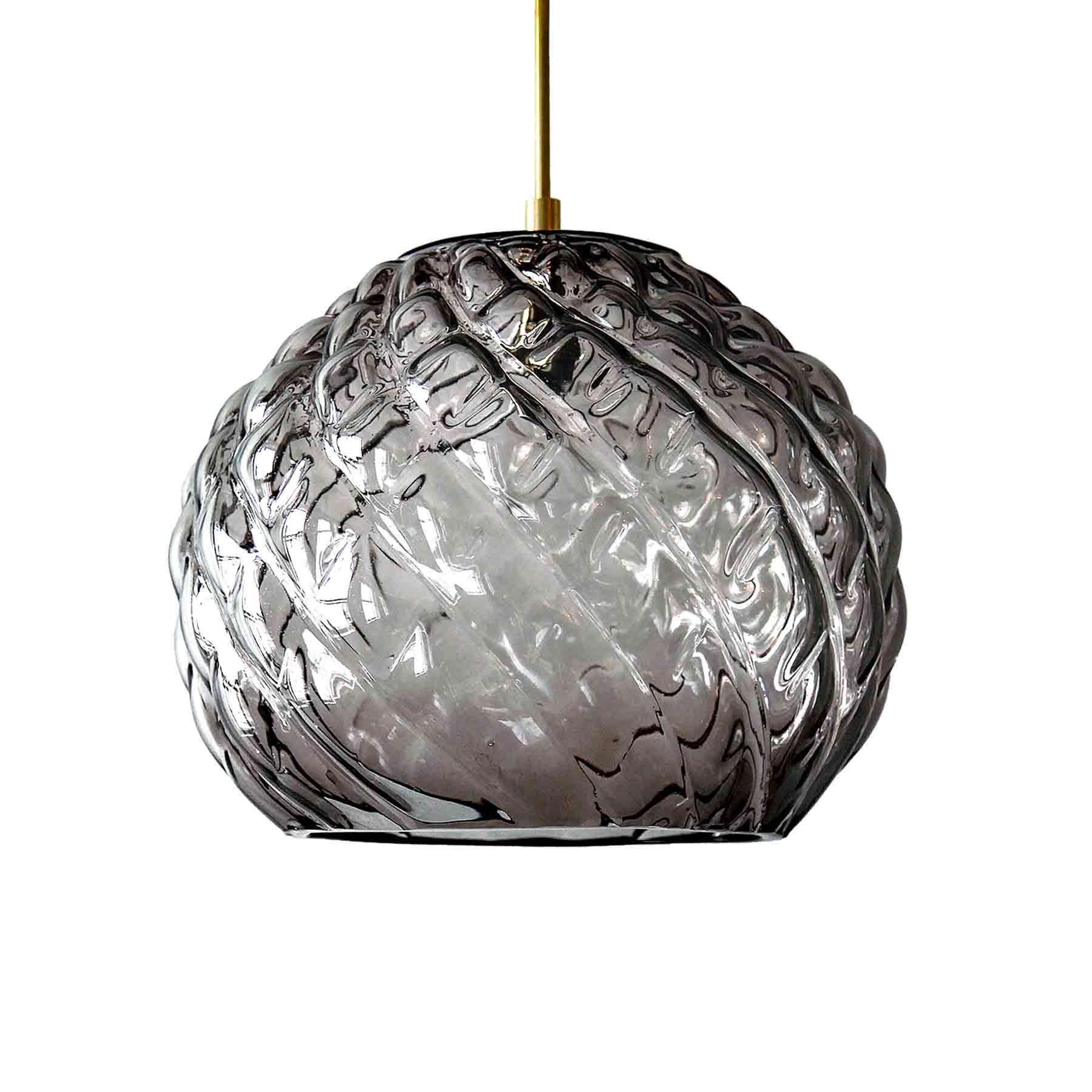Handblown Glass Pendant, Charcoal Glass, Cuishe, Agave Lighting Collection