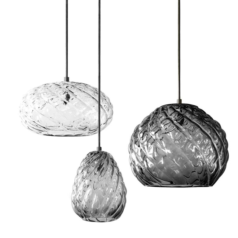 American Hand Blown Glass Pendant, Clear Glass, Espadín, Agave Lighting Collection For Sale