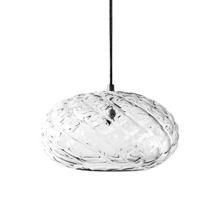 Hand Blown Glass Pendant, Clear Glass, Espadín, Agave Lighting Collection For Sale