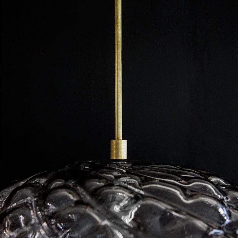 Handblown Glass Pendant, Smoke Glass, Espadín, Agave Lighting Collection In New Condition For Sale In New York, NY