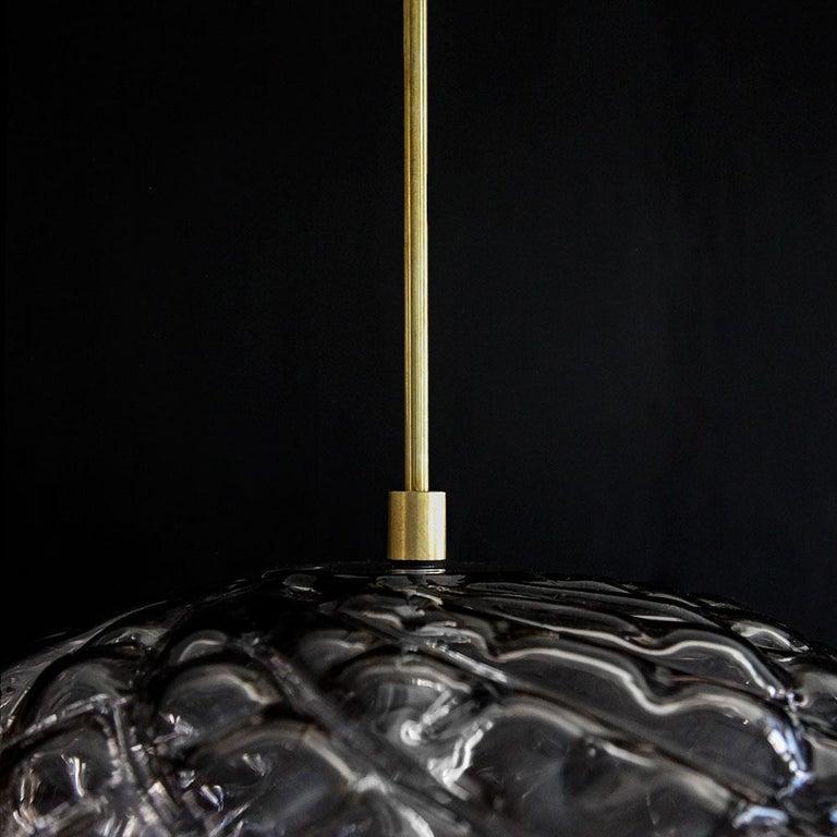 Handblown Glass Pendant, Smoke Glass, Espadín, Agave Lighting Collection For Sale 1
