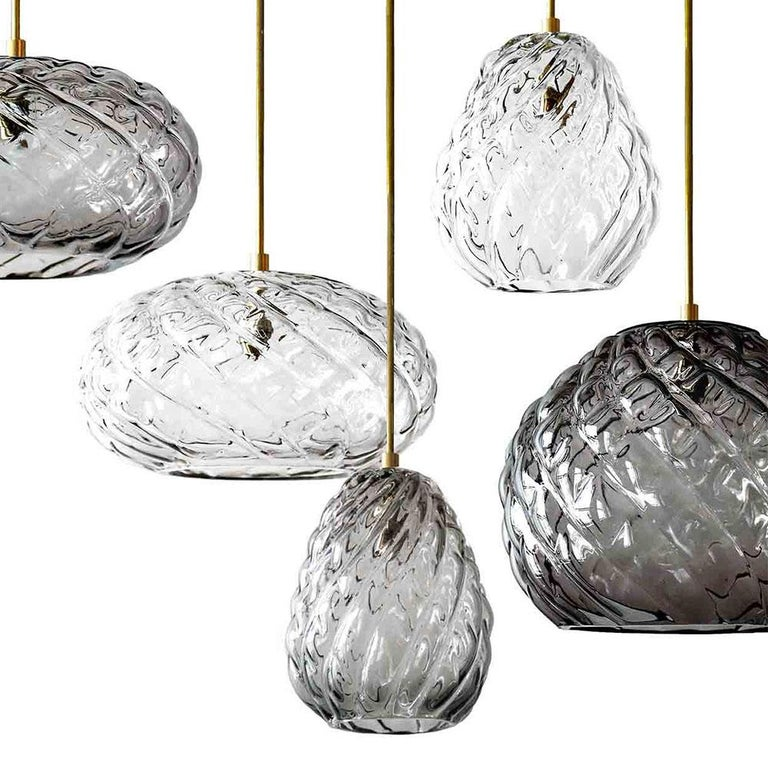 Other Handblown Glass Pendant, Clear Glass, Tobalà, Agave Lighting Collection For Sale