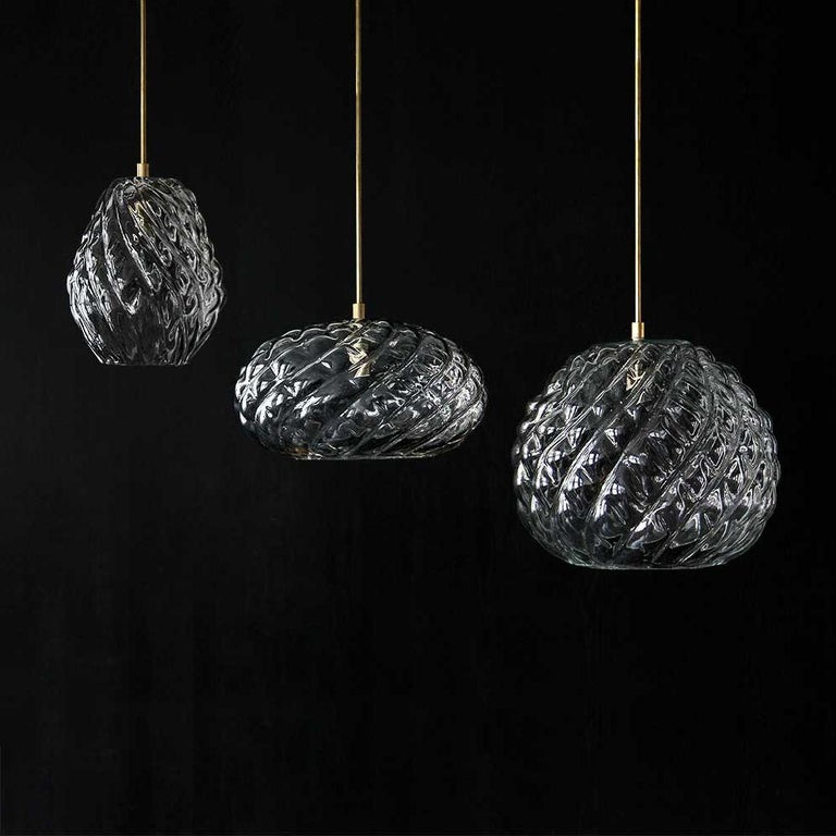 Handblown Glass Pendant, Clear Glass, Tobalà, Agave Lighting Collection In New Condition For Sale In New York, NY