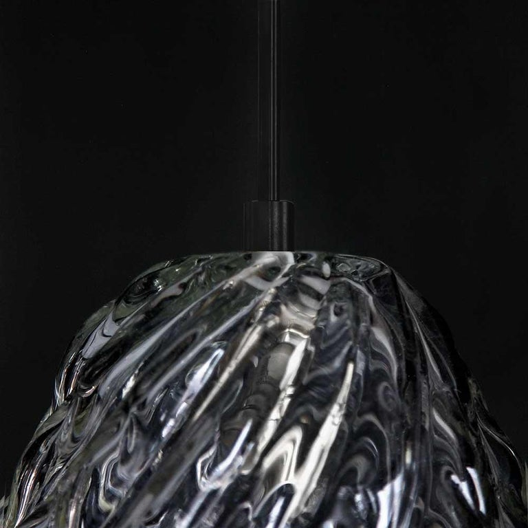 Handblown Glass Pendant, Clear Glass, Tobalà, Agave Lighting Collection For Sale 2