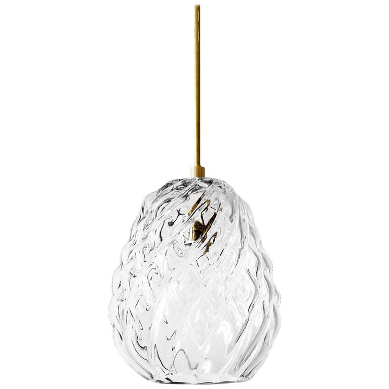 Handblown Glass Pendant, Clear Glass, Tobalà, Agave Lighting Collection For Sale