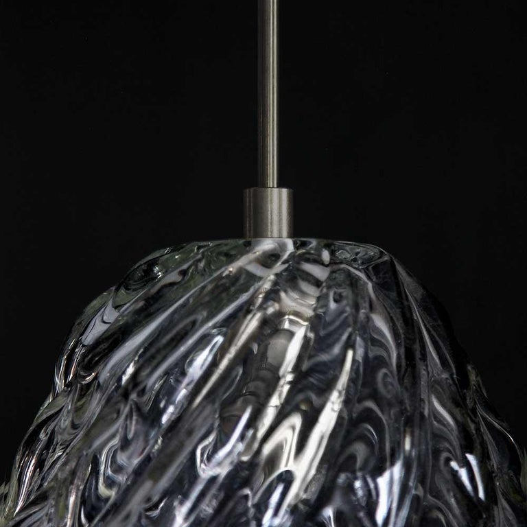 Contemporary Handblown Glass Pendant, Smoke Glass, Tobalà, Agave Lighting Collection For Sale