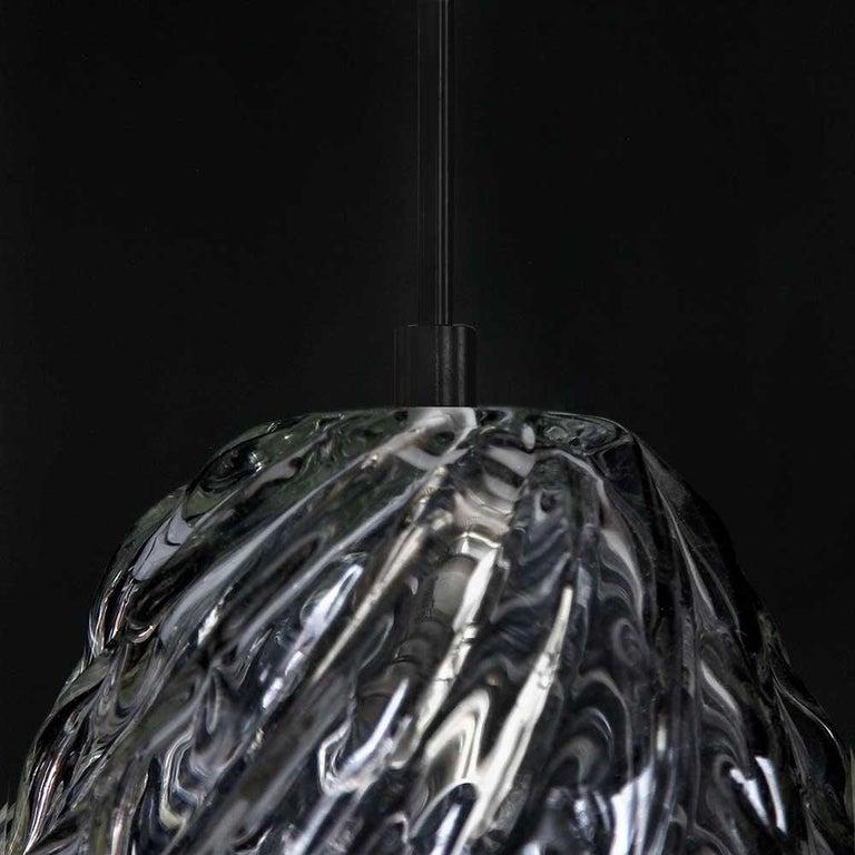 Handblown Glass Pendant, Smoke Glass, Tobalà, Agave Lighting Collection For Sale 1