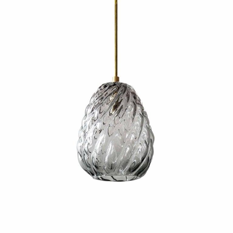 Handblown Glass Pendant, Smoke Glass, Tobalà, Agave Lighting Collection For Sale