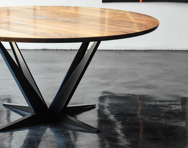 Agave Round Walnut Dining Table with Steel Atomic Base by Atra In Excellent Condition For Sale In San Francisco, CA