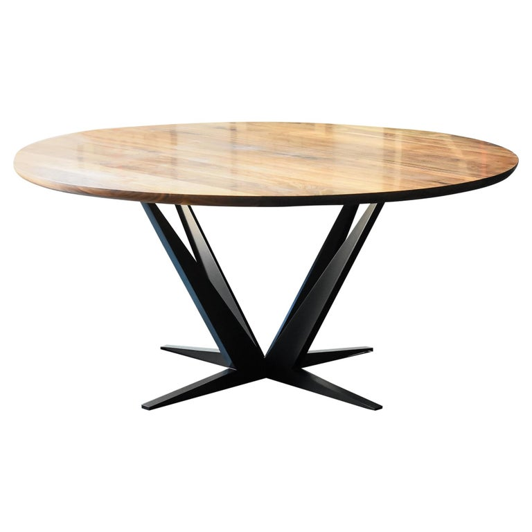 Agave Round Walnut Dining Table with Steel Atomic Base by Atra For Sale