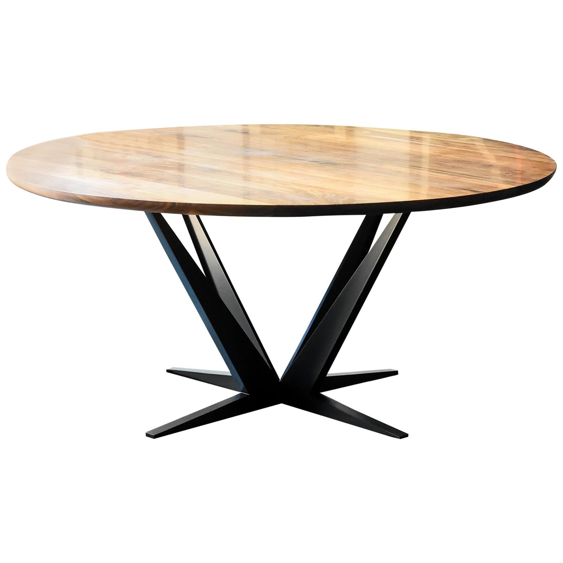 Agave Round Walnut Dining Table with Steel Atomic Base by Atra