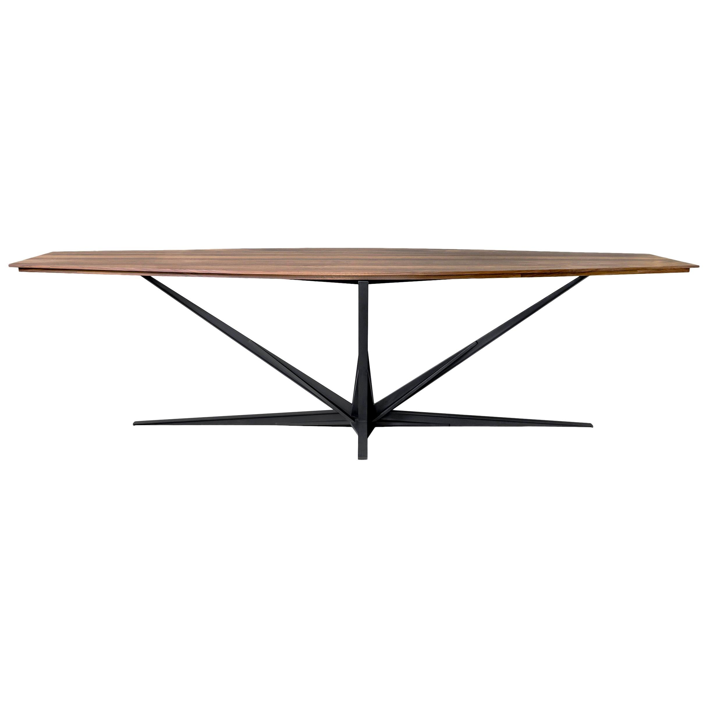 Agave Walnut Dining Table with Steel Atomic Base by ATRA