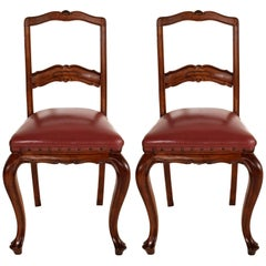 Age Art Nouveau Neoclassical Pair of Chairs Hand-Carved Walnut Leather Seat