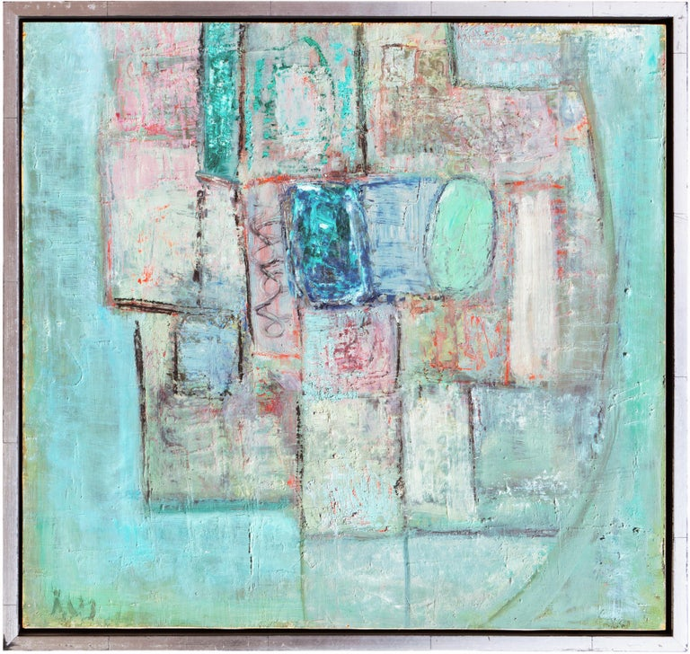 Mid-Century Danish 'Abstract in Primrose and Blue', Benezit and Thieme-Becker For Sale 1