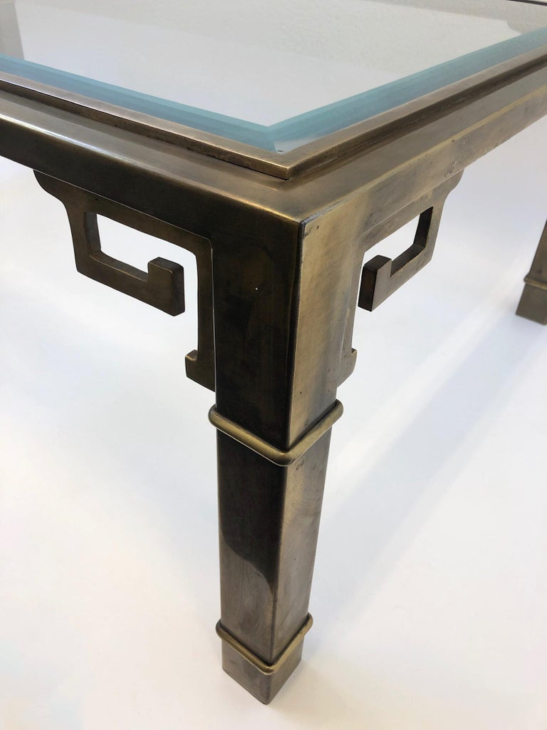 Aged Brass and Glass Greek Key Cocktail Table by Mastercraft For Sale 3