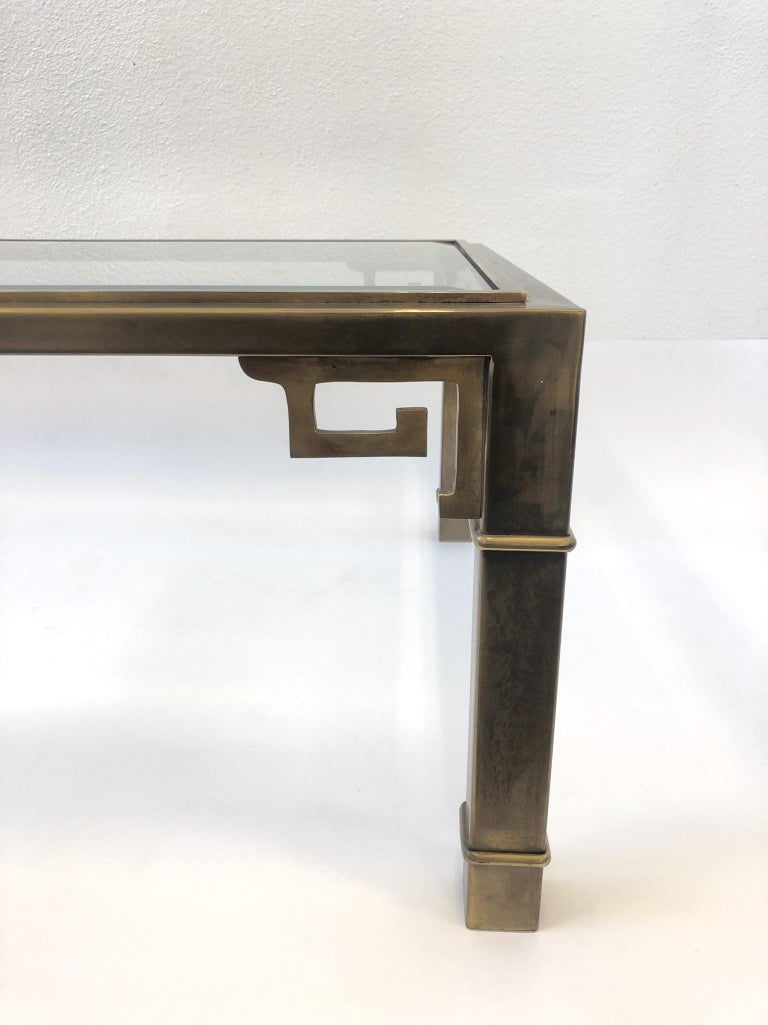 Aged Brass and Glass Greek Key Cocktail Table by Mastercraft For Sale 4