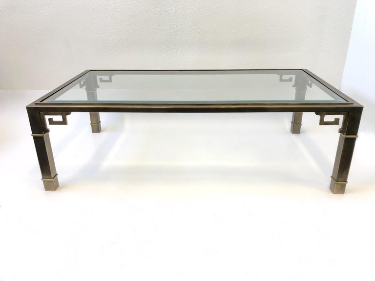 Aged Brass and Glass Greek Key Cocktail Table by Mastercraft For Sale 5