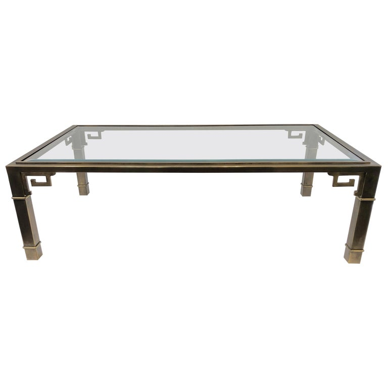 Aged Brass and Glass Greek Key Cocktail Table by Mastercraft For Sale
