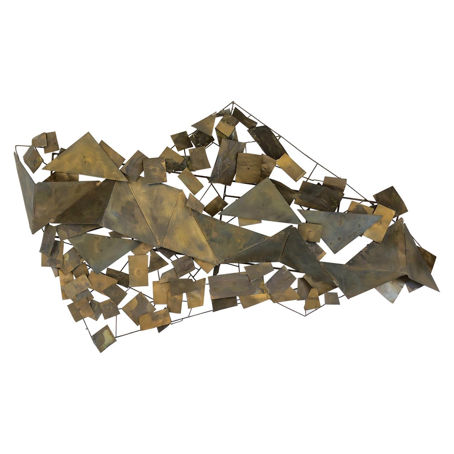 Aged Brass Brutalist Wall Sculpture