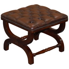 Aged Brown Leather Chesterfield Footstool with Mahogany Frame Nicely Crafted