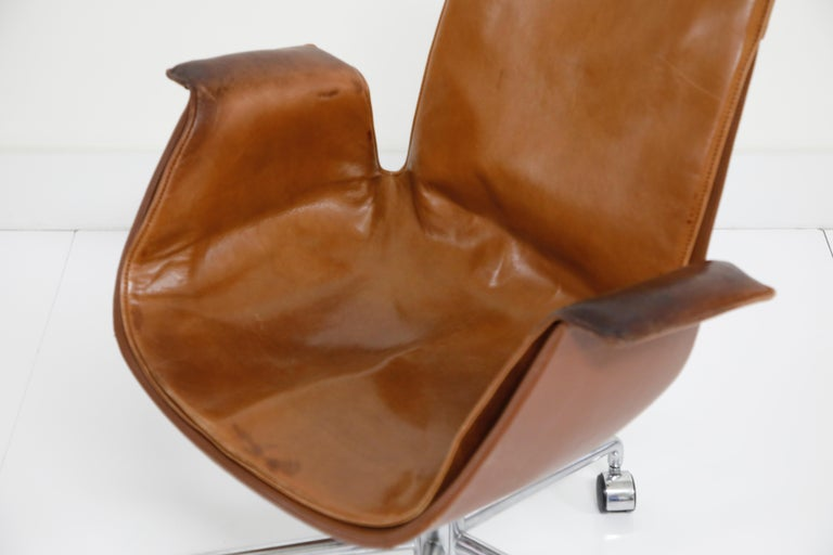 Aged Cognac Leather Bird Chairs by Fabricius & Kastholm for Alfred Kill, 1960s For Sale 5