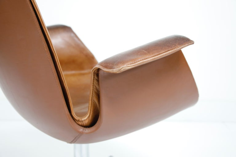 Aged Cognac Leather Bird Chairs by Fabricius & Kastholm for Alfred Kill, 1960s For Sale 8