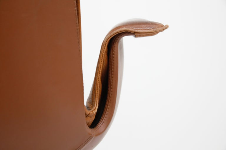 Aged Cognac Leather Bird Chairs by Fabricius & Kastholm for Alfred Kill, 1960s For Sale 9