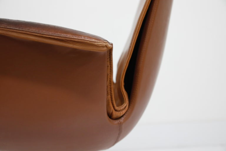 Aged Cognac Leather Bird Chairs by Fabricius & Kastholm for Alfred Kill, 1960s For Sale 11