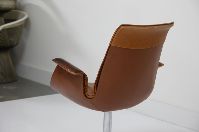 Aged Cognac Leather Bird Chairs by Fabricius & Kastholm for Alfred Kill, 1960s For Sale 13