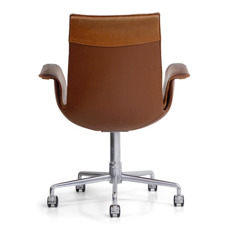 Mid-20th Century Aged Cognac Leather Bird Chairs by Fabricius & Kastholm for Alfred Kill, 1960s For Sale