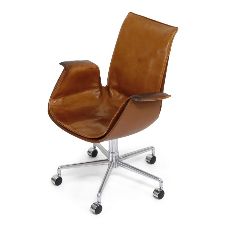 Aged Cognac Leather Bird Chairs by Fabricius & Kastholm for Alfred Kill, 1960s For Sale 1