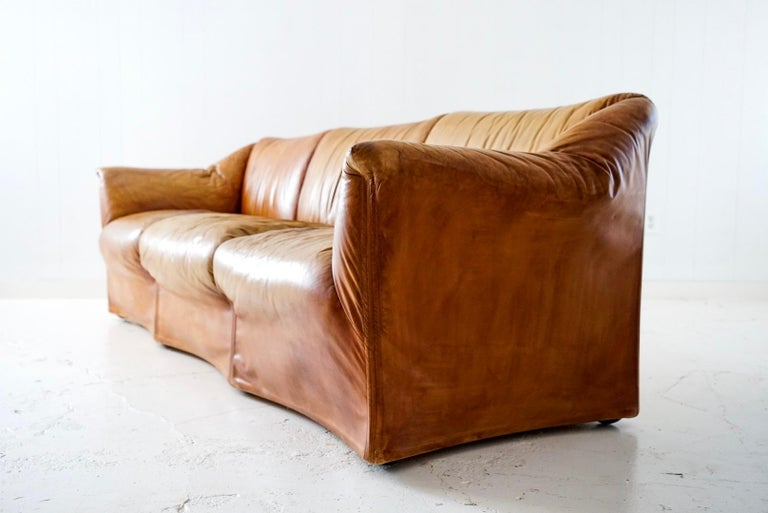 Aged Cognac Leather Tentazione Three-Seat Sofa by Mario Bellini for Cassina For Sale 4