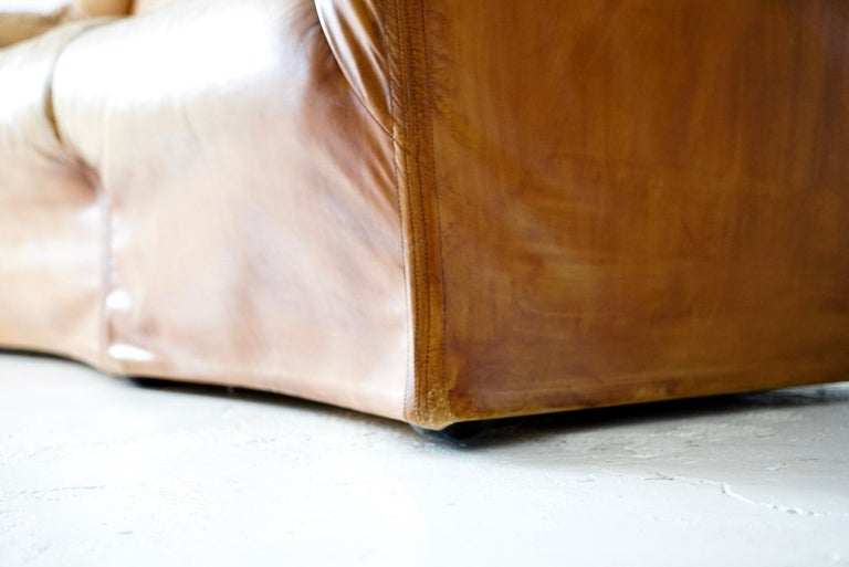Aged Cognac Leather Tentazione Three-Seat Sofa by Mario Bellini for Cassina For Sale 5